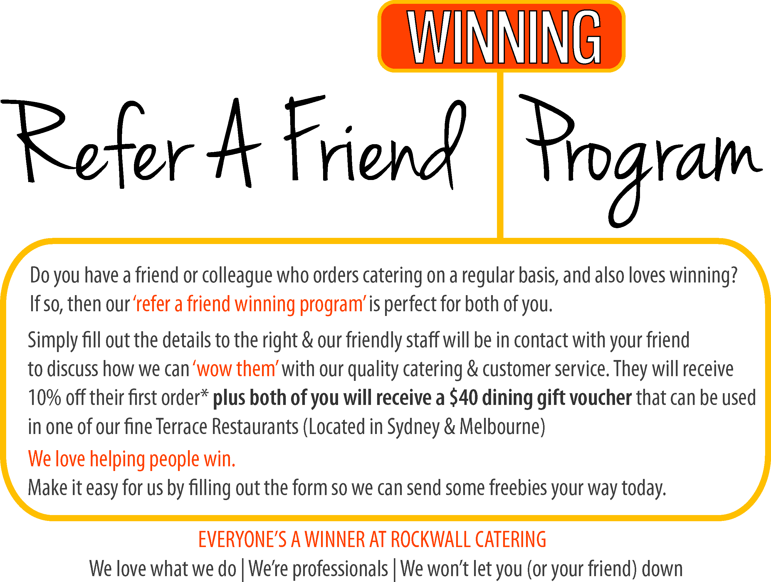 Refer a friend catering rockwall catering for Refer a friend email template